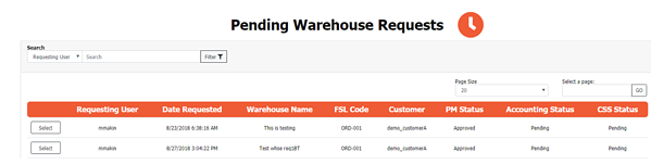Pending Warehouse Requests